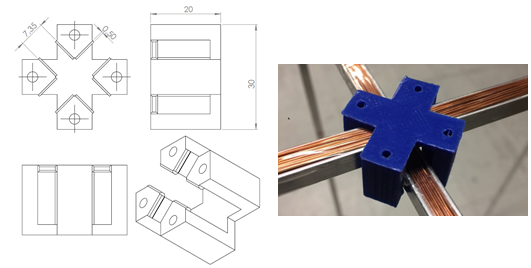 3D-printed clip that attaches the structure together.