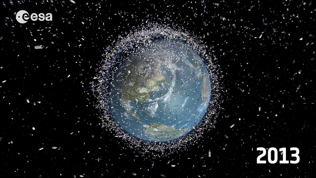 Representation of the distribution of the space debris in LEO in 2013. Source: ESA.