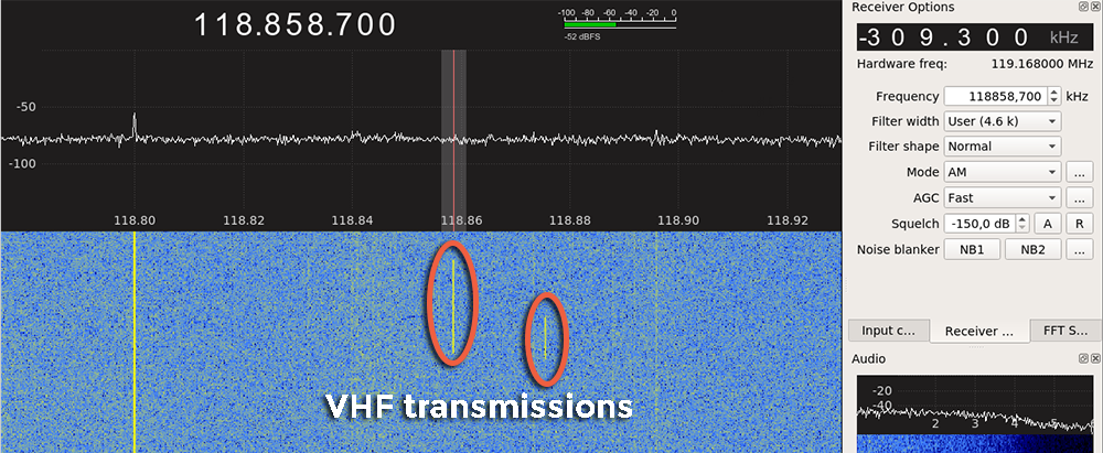 A communication in the airband, on GQRX