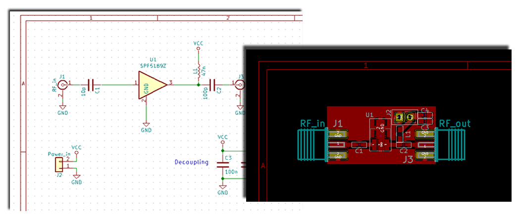 Screen capture of kicad's interface