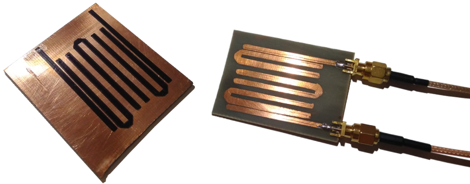 Photo of the masked hairpin PCB